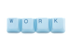 Work blue keyboard caption Stock Image