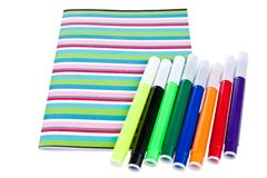 Work book with set of colorful pencils Royalty Free Stock Image