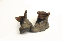Work boots. A pair of old leather work boots Royalty Free Stock Photography