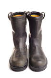 Work Boots. Photograph of a pair of woorkboots,shot in studio against a white background Royalty Free Stock Photos