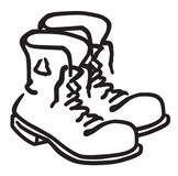 Work Boots. Mens Work Boots untied illustration Stock Photography