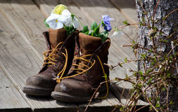 Free Work Boots And Flowers Royalty Free Stock Images - 34225279