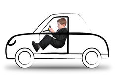 Work Boy Driving Invisible Car on White Royalty Free Stock Images