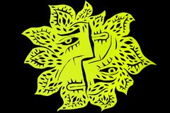 Art cut. The work is carved from black and yellow green paper,which depicts the profiles of the forest spirits in the form of the sun.Art cut Stock Images