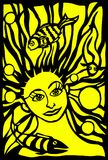 Art cut. The work is carved from black and yellow paper,which depicts a fabulous mermaid with a smile under water among the many fish of the pond.Art cut Stock Images