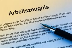 Work certificate in German language Royalty Free Stock Photos