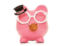 Work christmas party piggy bank Royalty Free Stock Images