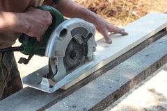 Work on the circular saw Royalty Free Stock Images