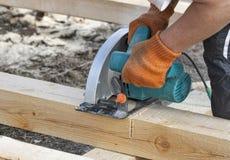 Work with circular saws closeup Stock Photos