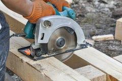 Work with circular saws closeup Royalty Free Stock Image