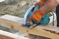 Work with circular saws closeup Stock Images