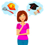 Work and college. Worried woman thinking about college and part time job Stock Photography