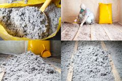 Master stacked cellulose insulation in the floor Set of four photos. Work composed of cellulose insulation in the floor, floor heating insulation , warm house stock images