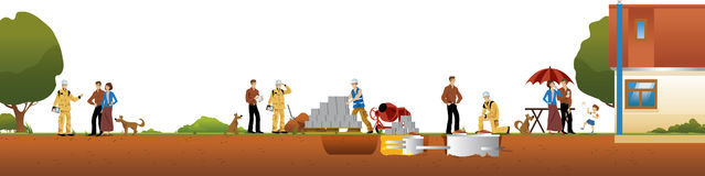 Work and construction of houses Royalty Free Stock Image