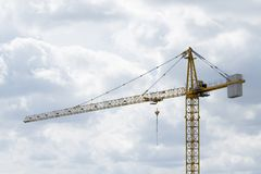 Work at construction site, crane and construction stock photos