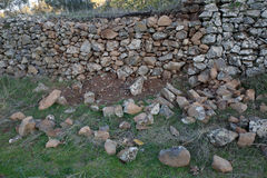 Work craftsman. Build stone walls Royalty Free Stock Image