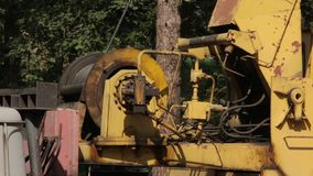 A work of the crane. Work of building crane on the construction in forest stock video