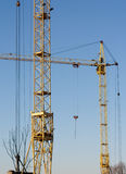 Work crane at a construction site of homes. Royalty Free Stock Photo