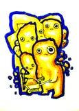 Work Crew. Original painting of a cartoon work crew stock illustration