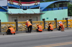 Jiu Chi Town, China: Work Crew Painting Bridge Royalty Free Stock Images