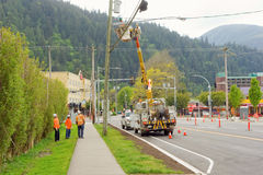 A work crew at a newly constructed intersection in harrison hot springs, canada Stock Photos