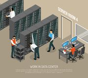 Work In Data Center Isometric Vector Illustration. With programmer at working place and engineers configuring equipment Stock Image