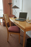 Work desk. With laptop in hotel room Stock Images