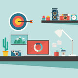 Work desk with accessories and vintage camera on flat design con Royalty Free Stock Image
