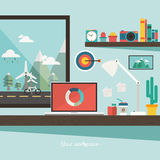 Work desk and accessories with a window view of mountain on flat design concept Royalty Free Stock Photography