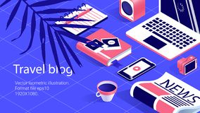 Illustration work tabel, Travel bloger, banners set stock illustration