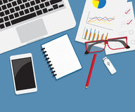 Work desk with office supplies flat style Royalty Free Stock Photo