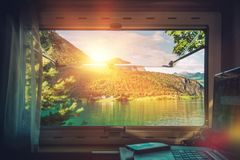 Work Desk with Scenic View Royalty Free Stock Photos
