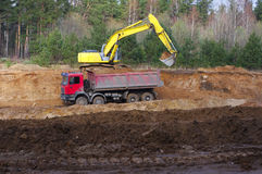 Work of digging ground and machines truck Stock Image