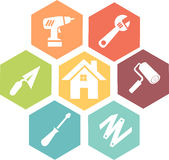 Work and diy icon. Colored work and diy in hexagon icon in flat design style stock illustration