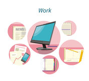 Work with Document Concept Flat Design. Office and computer, business management, mobile organization, information and workplace, project and pencil, digital Royalty Free Stock Photo