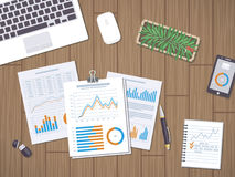 Work with documents, statistic, data analysis. Financial Audit, SEO analytics, strategic, report, planning, research. Form with the charts and graphs Stock Image