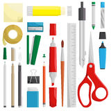 Work draw sketch stationary set illustration. Many tools of stationary. Every tools have details to transform bigger. for example; clip and pin Royalty Free Stock Image