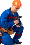 Work with drill Royalty Free Stock Image