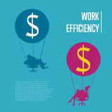 Work efficiency banner. Business people flying Royalty Free Stock Image