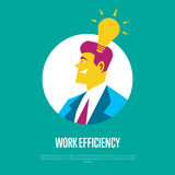 Work efficiency banner. Side view of businessman. Work efficiency banner with businessman round avatar icon and lightbulb symbol on blue background, vector Stock Photography