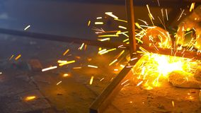 Work of electric saw for metal view stock video footage