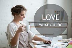 Work with enjoyment. Motivational phrase Royalty Free Stock Photos
