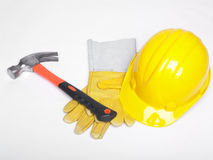 Work equipment Hardhat Hard hat helmet and glowes Royalty Free Stock Photo