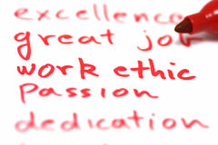 Work Ethic. Written in red with marker Stock Photography