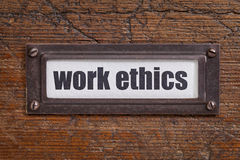 Work ethics file  label Stock Photo