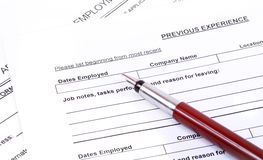 Work experience. Job Application  asking for Work experience Stock Image
