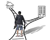 Work and family balance concept Rear view of businessman trying. To make a choice on office or home Stock Image