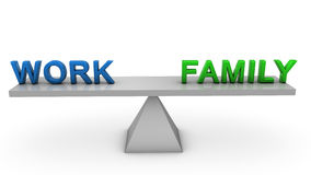 Work and family balance. 3D render of work and family balance concept Royalty Free Stock Photos
