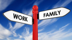 Work family signpost business concept Royalty Free Stock Image