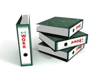 Work Files. A background with a view of a pile of work files, isolated on a white background Stock Illustration